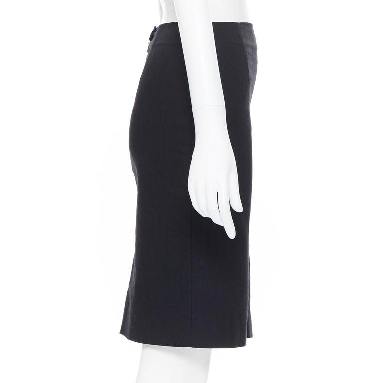 Women's ROMEO GIGLI black stretch minimalist dart pencil skirt IT38 XS 23