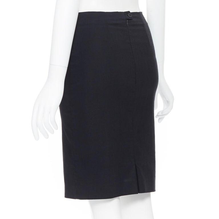 ROMEO GIGLI black stretch minimalist dart pencil skirt IT38 XS 23