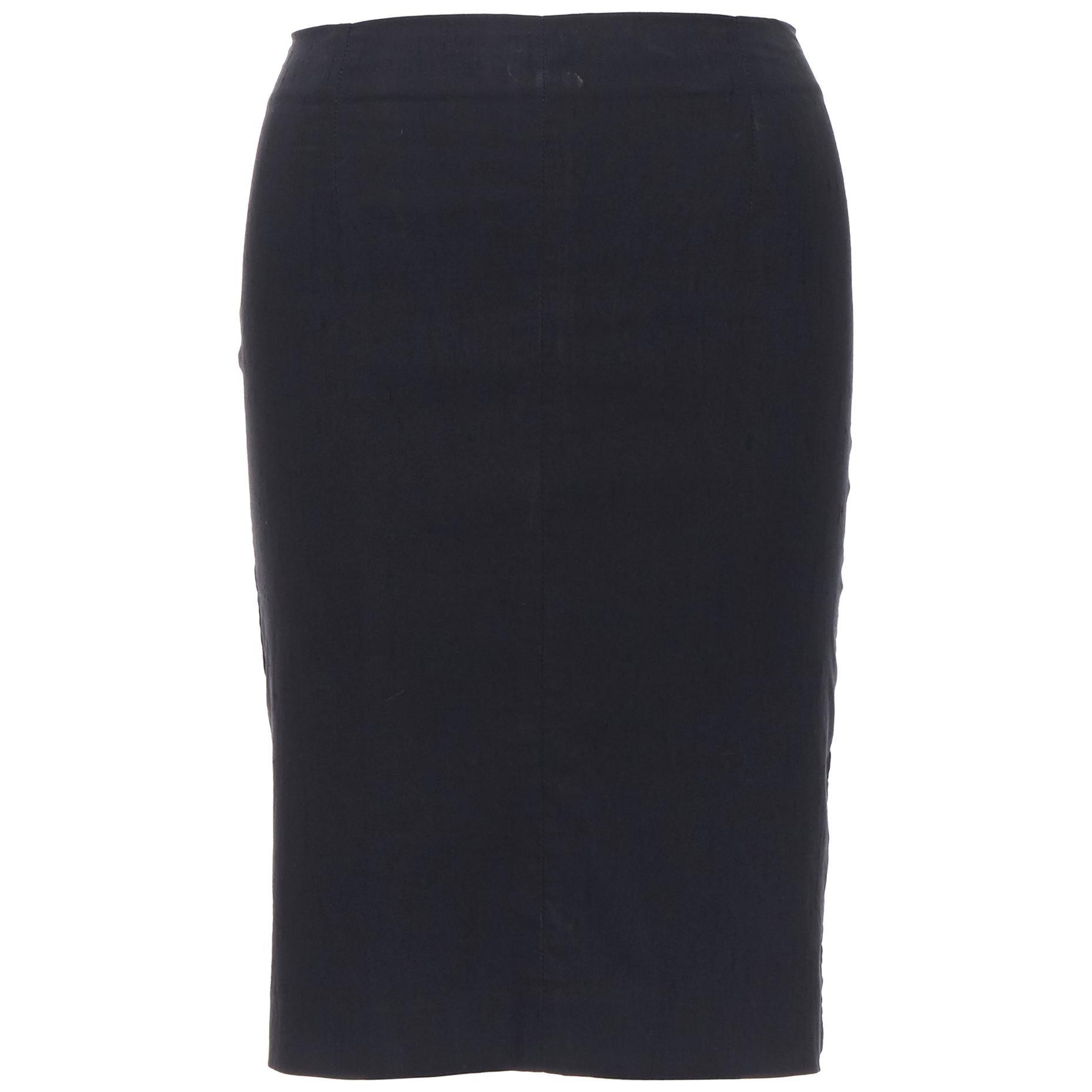"""ROMEO GIGLI black stretch minimalist dart pencil skirt IT38 XS 23"""""""