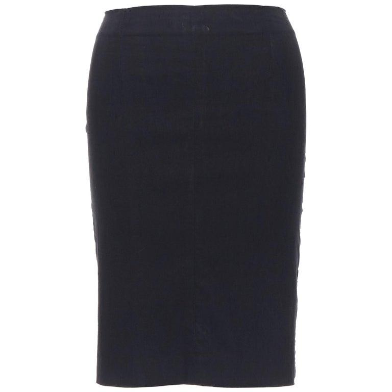 "ROMEO GIGLI black stretch minimalist dart pencil skirt IT38 XS 23"" For Sale"