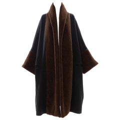Romeo Gigli Black Wool Alpaca Chocolate Brown Shawl Collar Coat , Fall 1994