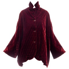 Romeo Gigli Bordeaux Edelweiss Smocking Silk Velvet Coat, Fall 1991
