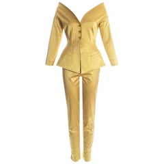Romeo Gigli gold satin spandex off shoulder evening pant suit, ss 1996