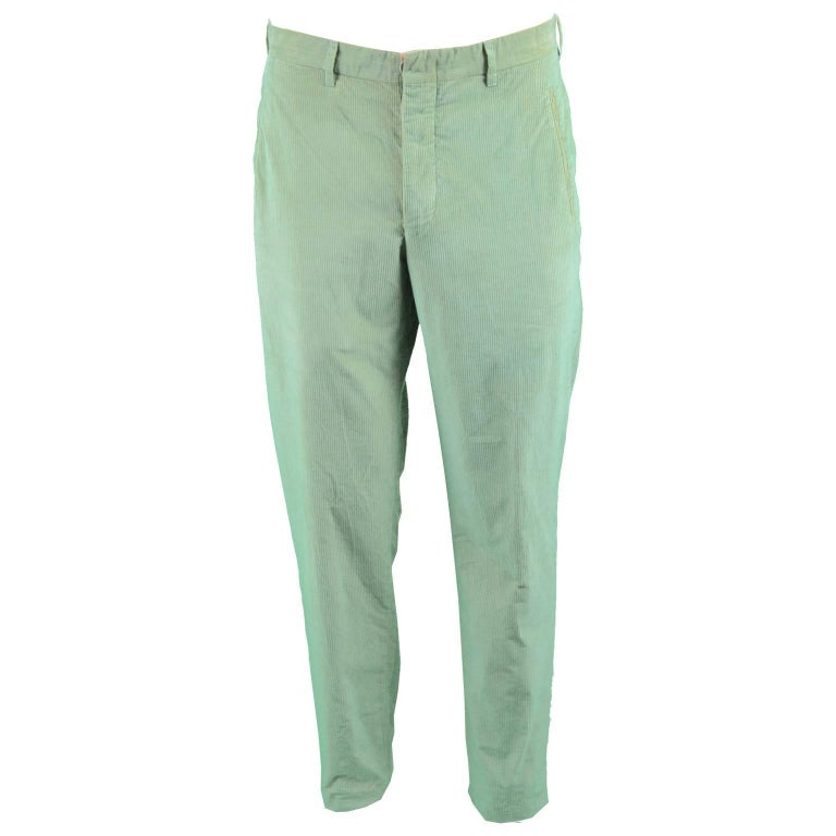 Romeo Gigli Men's Vintage 1990's Iridescent Green & Brown Slim Leg Ribbed Pants