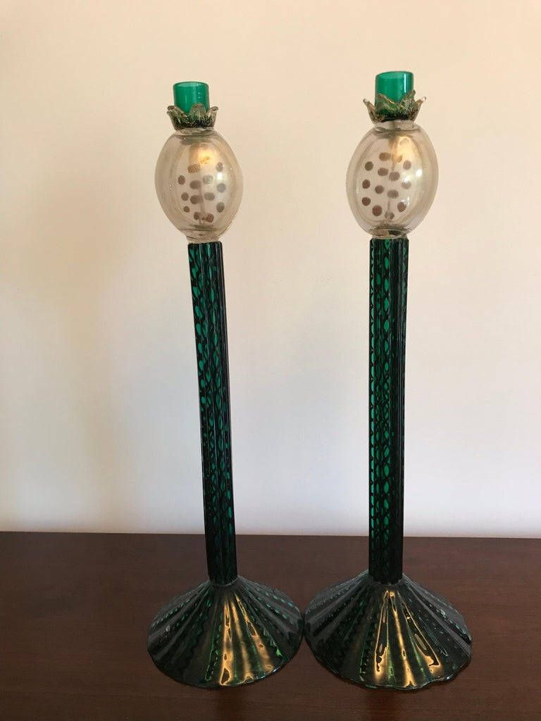 Romeo Gigli Murano Artisan Glass Candle Holders For Sale 5