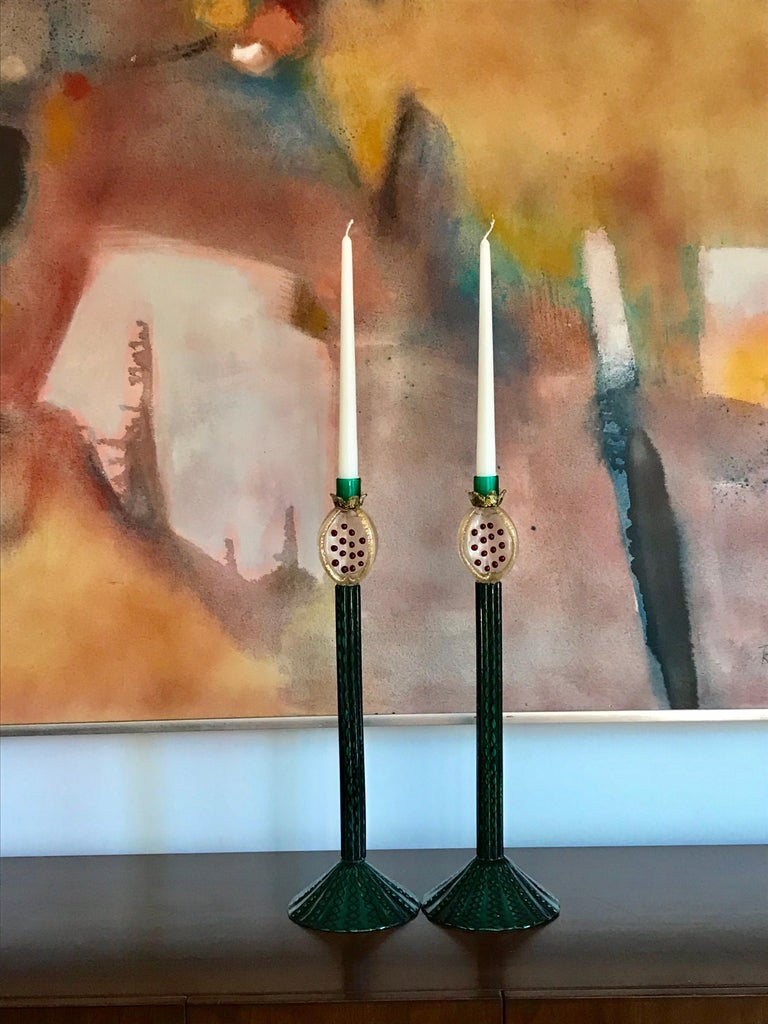 Modern Romeo Gigli Murano Artisan Glass Candle Holders For Sale