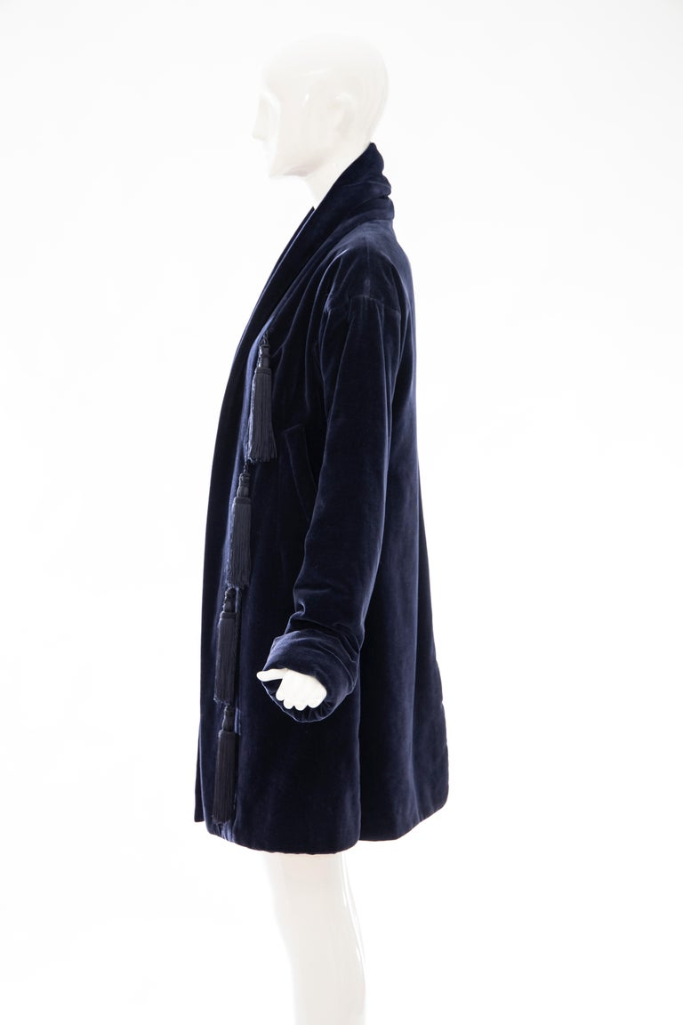 Romeo Gigli Navy Blue Cotton Velvet Appliquéd Tassels Kimono Jacket, Fall 1994 For Sale 5