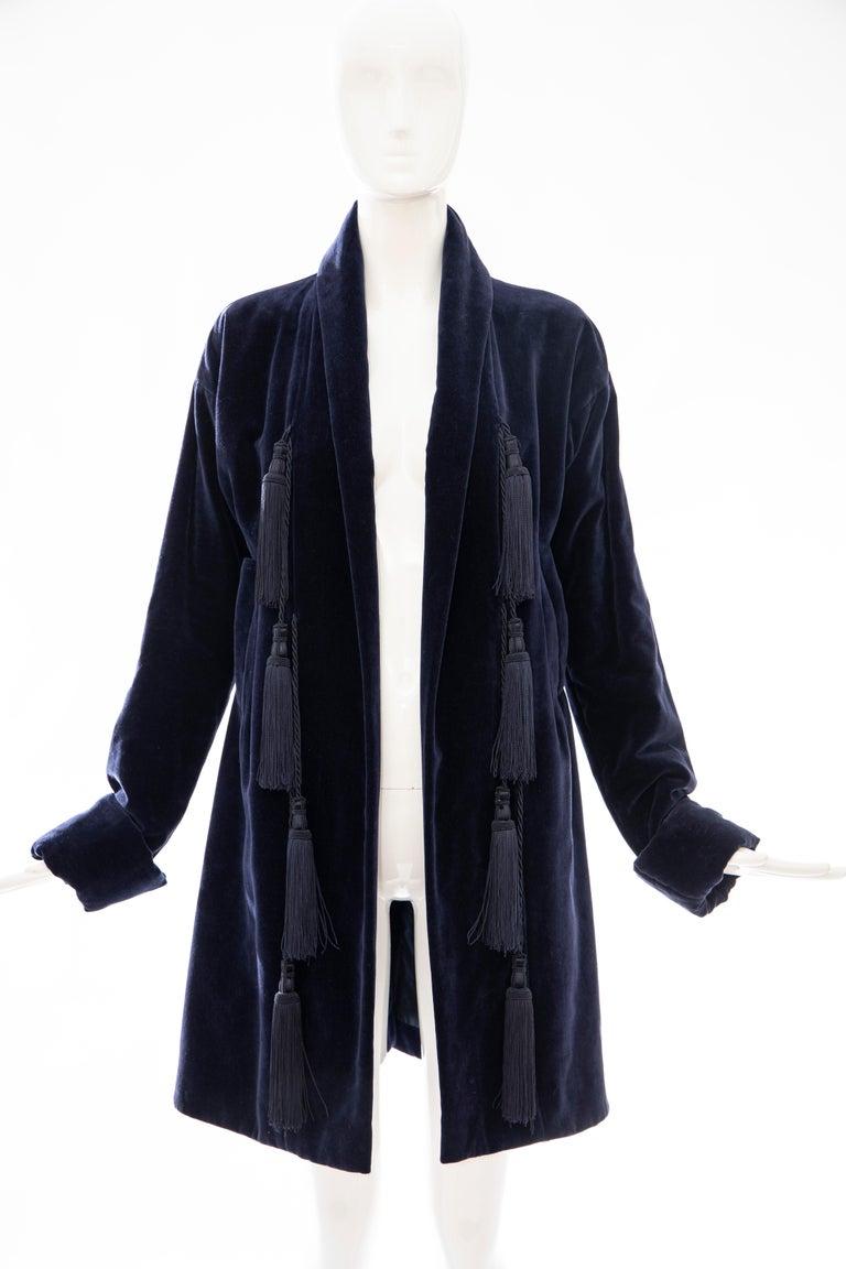 Romeo Gigli Navy Blue Cotton Velvet Appliquéd Tassels Kimono Jacket, Fall 1994 For Sale 6