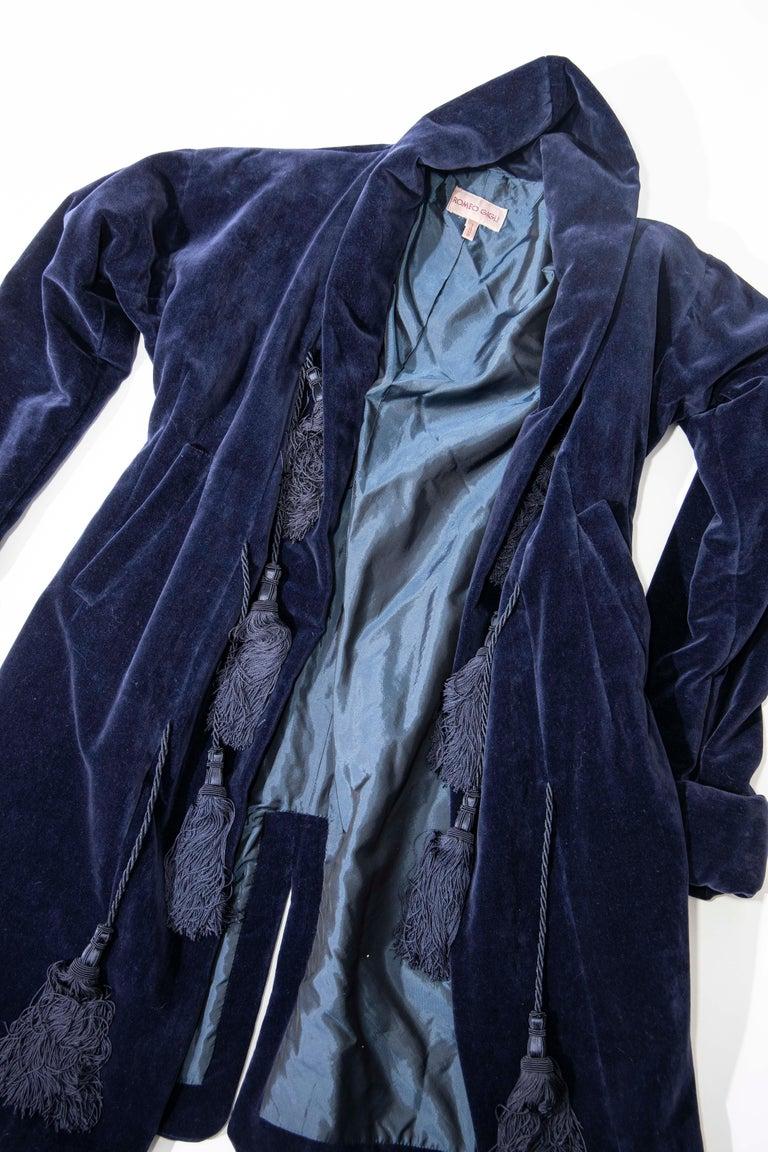 Romeo Gigli Navy Blue Cotton Velvet Appliquéd Tassels Kimono Jacket, Fall 1994 For Sale 7