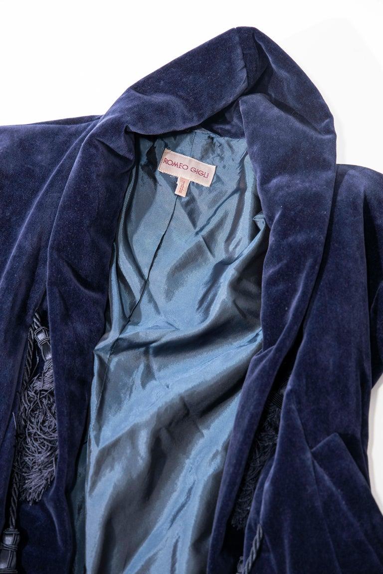 Romeo Gigli Navy Blue Cotton Velvet Appliquéd Tassels Kimono Jacket, Fall 1994 For Sale 8