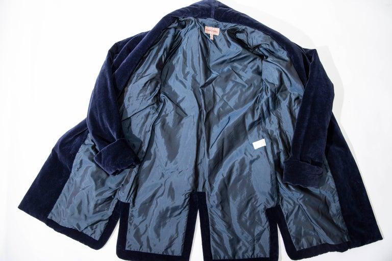 Romeo Gigli Navy Blue Cotton Velvet Appliquéd Tassels Kimono Jacket, Fall 1994 For Sale 9