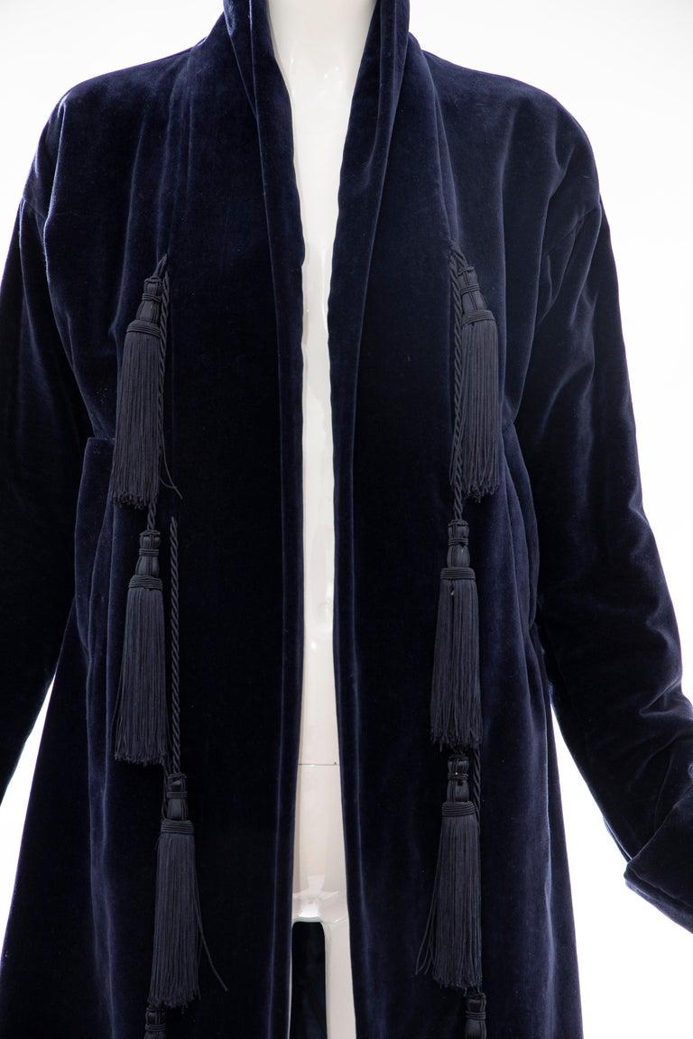 Black Romeo Gigli Navy Blue Cotton Velvet Appliquéd Tassels Kimono Jacket, Fall 1994 For Sale
