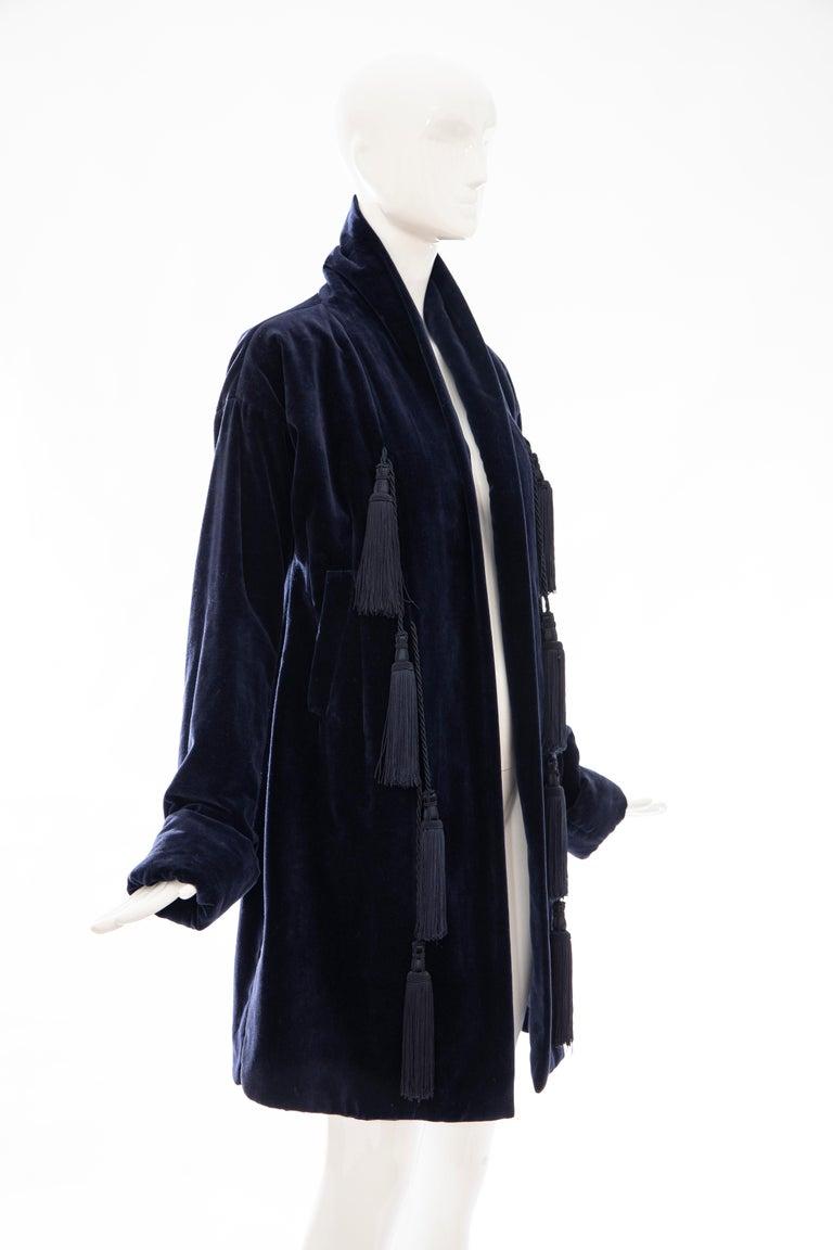 Romeo Gigli Navy Blue Cotton Velvet Appliquéd Tassels Kimono Jacket, Fall 1994 In Excellent Condition For Sale In Cincinnati, OH
