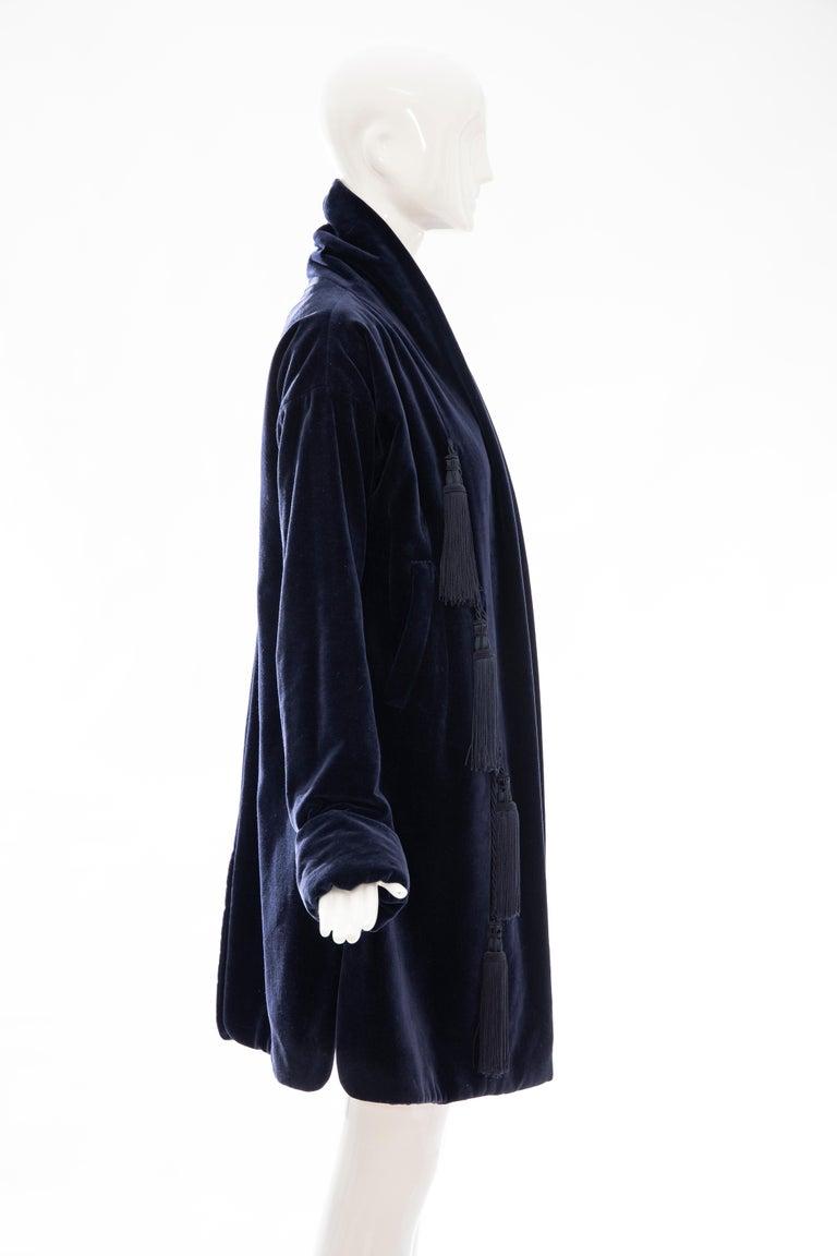 Women's Romeo Gigli Navy Blue Cotton Velvet Appliquéd Tassels Kimono Jacket, Fall 1994 For Sale