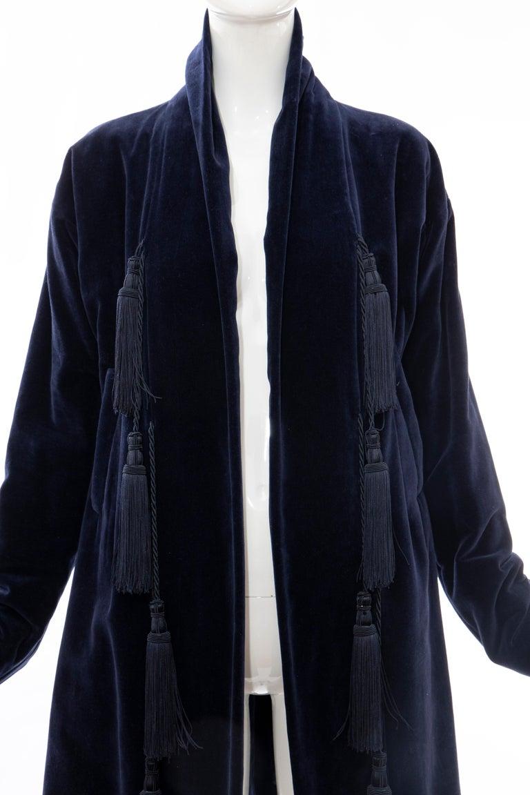 Romeo Gigli Navy Blue Cotton Velvet Appliquéd Tassels Kimono Jacket, Fall 1994 For Sale 1