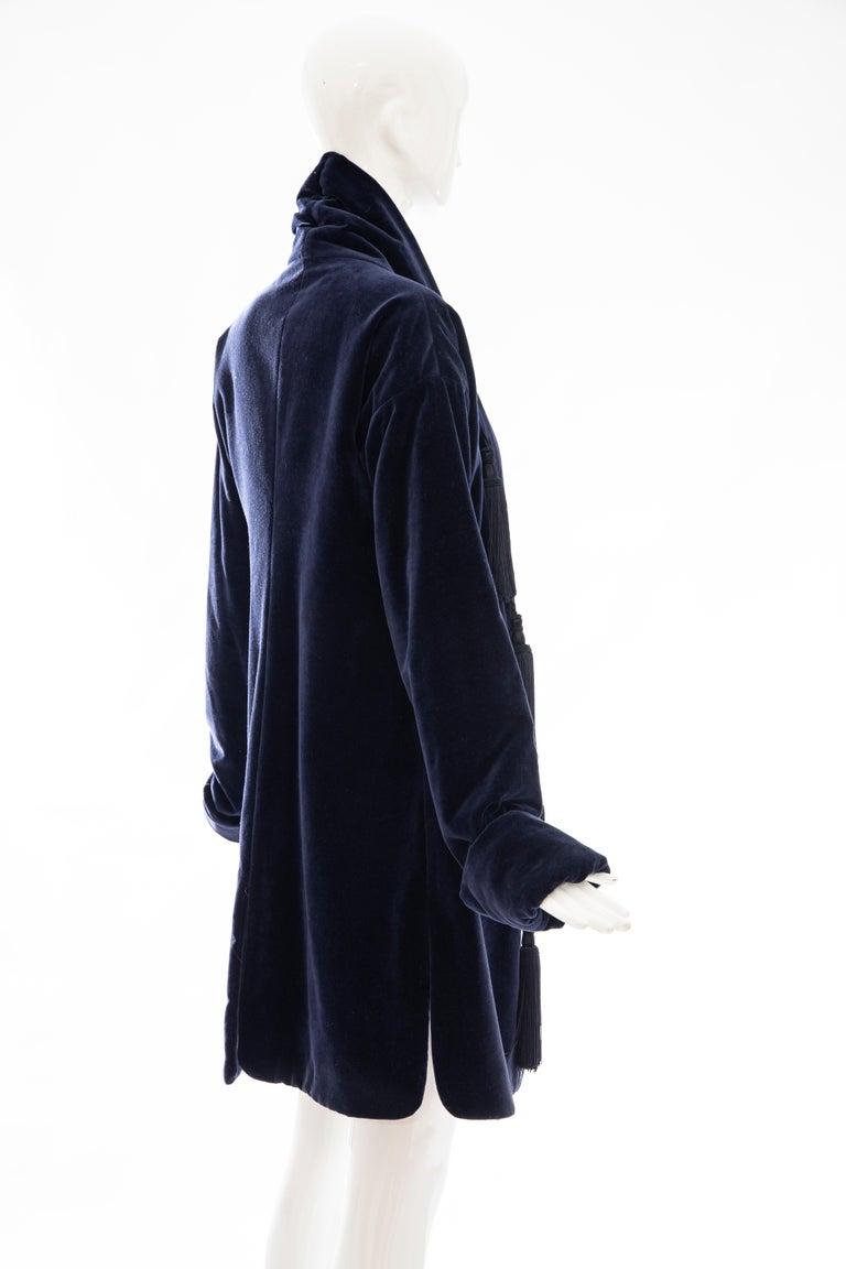 Romeo Gigli Navy Blue Cotton Velvet Appliquéd Tassels Kimono Jacket, Fall 1994 For Sale 2