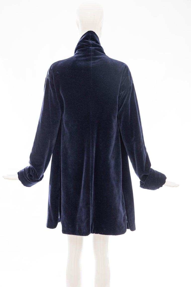 Romeo Gigli Navy Blue Cotton Velvet Appliquéd Tassels Kimono Jacket, Fall 1994 For Sale 3
