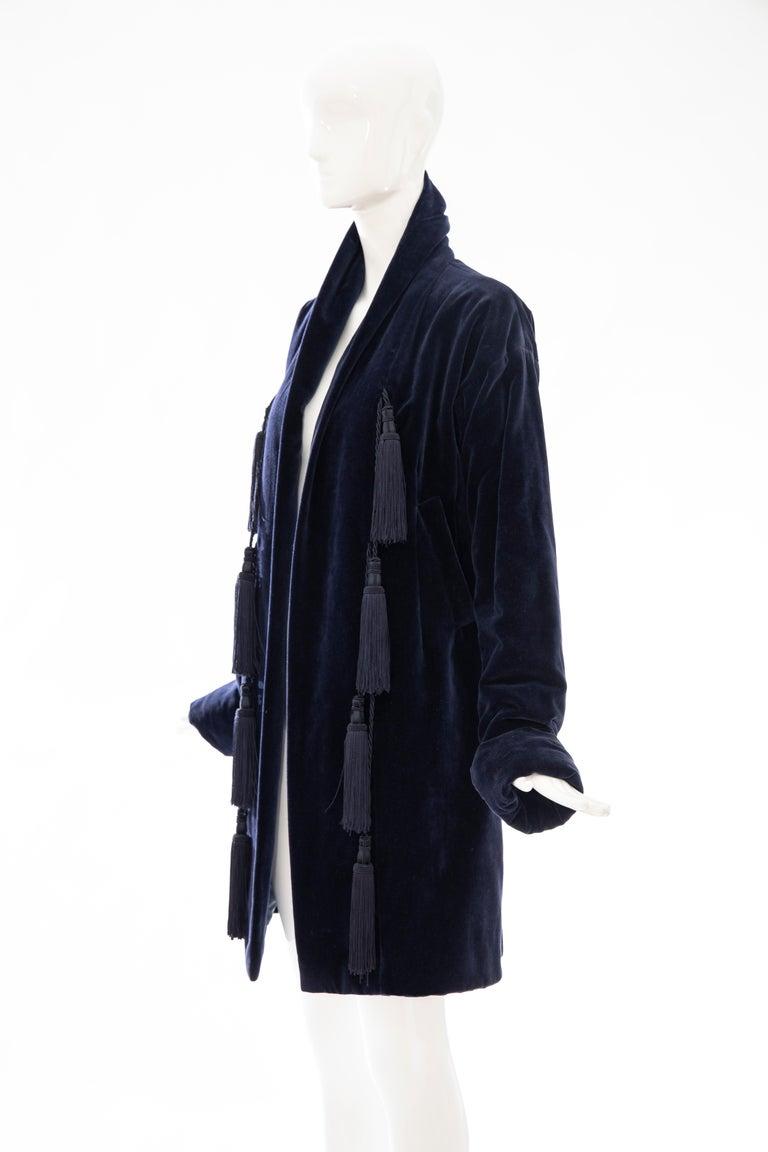 Romeo Gigli Navy Blue Cotton Velvet Appliquéd Tassels Kimono Jacket, Fall 1994 For Sale 4