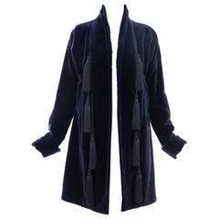 Romeo Gigli Navy Blue Cotton Velvet Appliquéd Tassels Kimono Jacket, Fall 1994