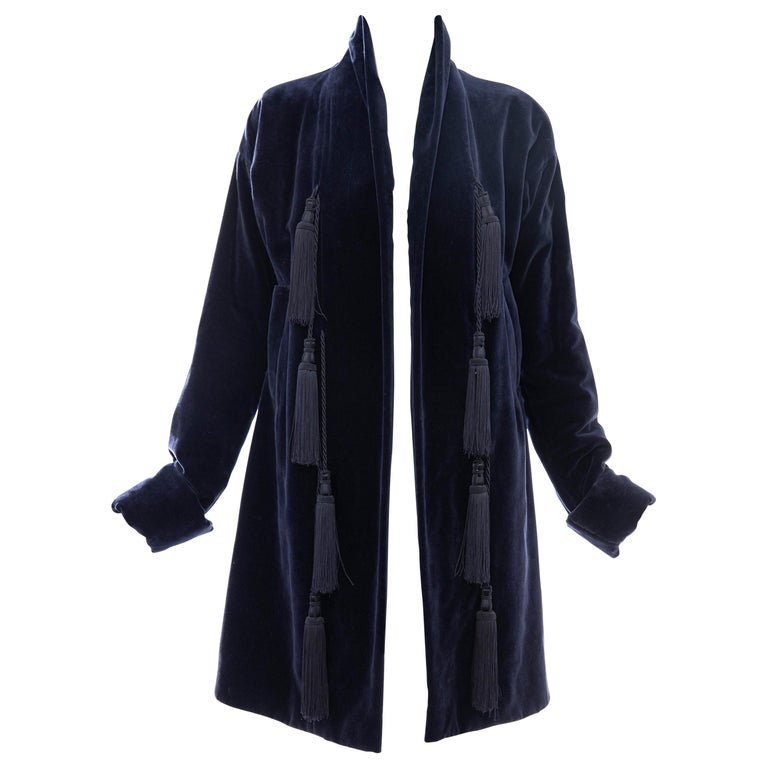 Romeo Gigli Navy Blue Cotton Velvet Appliquéd Tassels Kimono Jacket, Fall 1994 For Sale
