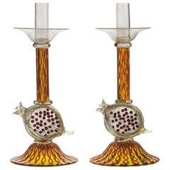 Romeo Gigli Pomegranate Candlesticks, Zanfirico, Massiccio and Gold Leaf, Unique