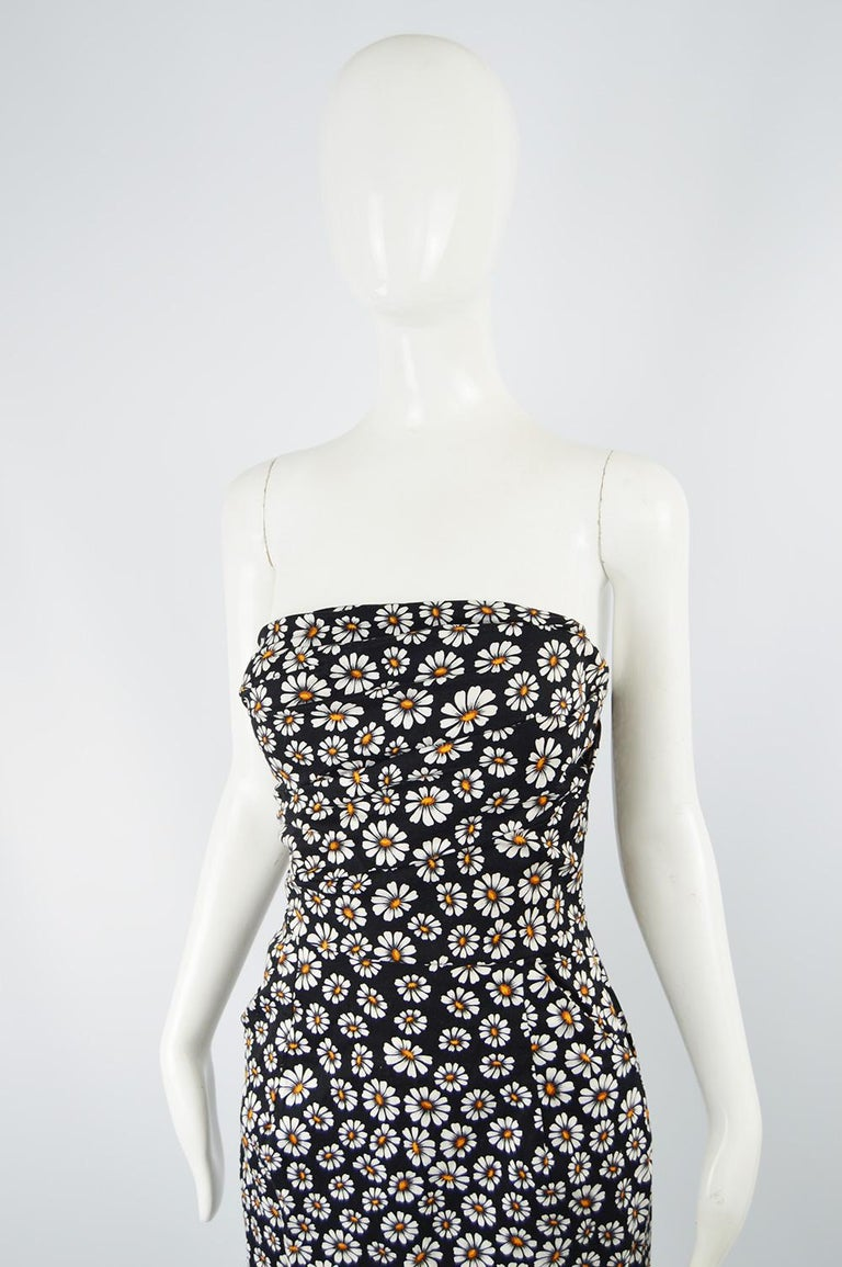 Romeo Gigli Strapless Black Stretch Cotton Daisy Print Draped Dress, 2000s In Excellent Condition For Sale In Doncaster, South Yorkshire