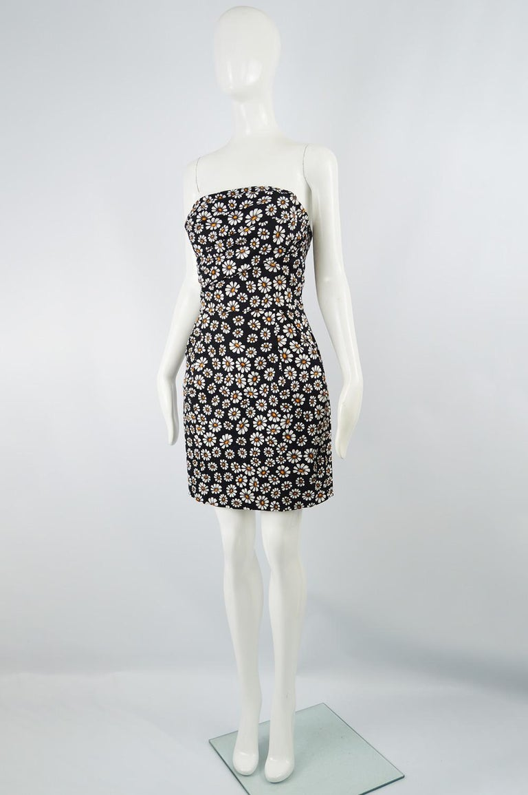Romeo Gigli Strapless Black Stretch Cotton Daisy Print Draped Dress, 2000s For Sale 1