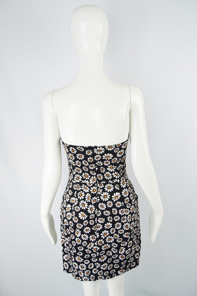 Romeo Gigli Strapless Black Stretch Cotton Daisy Print Draped Dress, 2000s For Sale 4