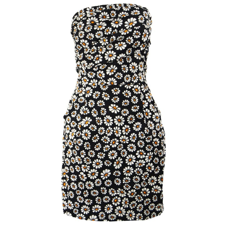 Romeo Gigli Strapless Black Stretch Cotton Daisy Print Draped Dress, 2000s For Sale