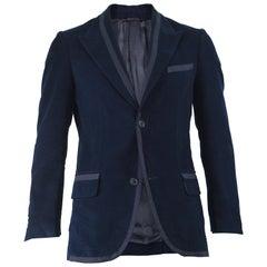 Romeo Gigli Vintage Men's Dark Blue Velvet & Black Grosgrain Dinner Jacket