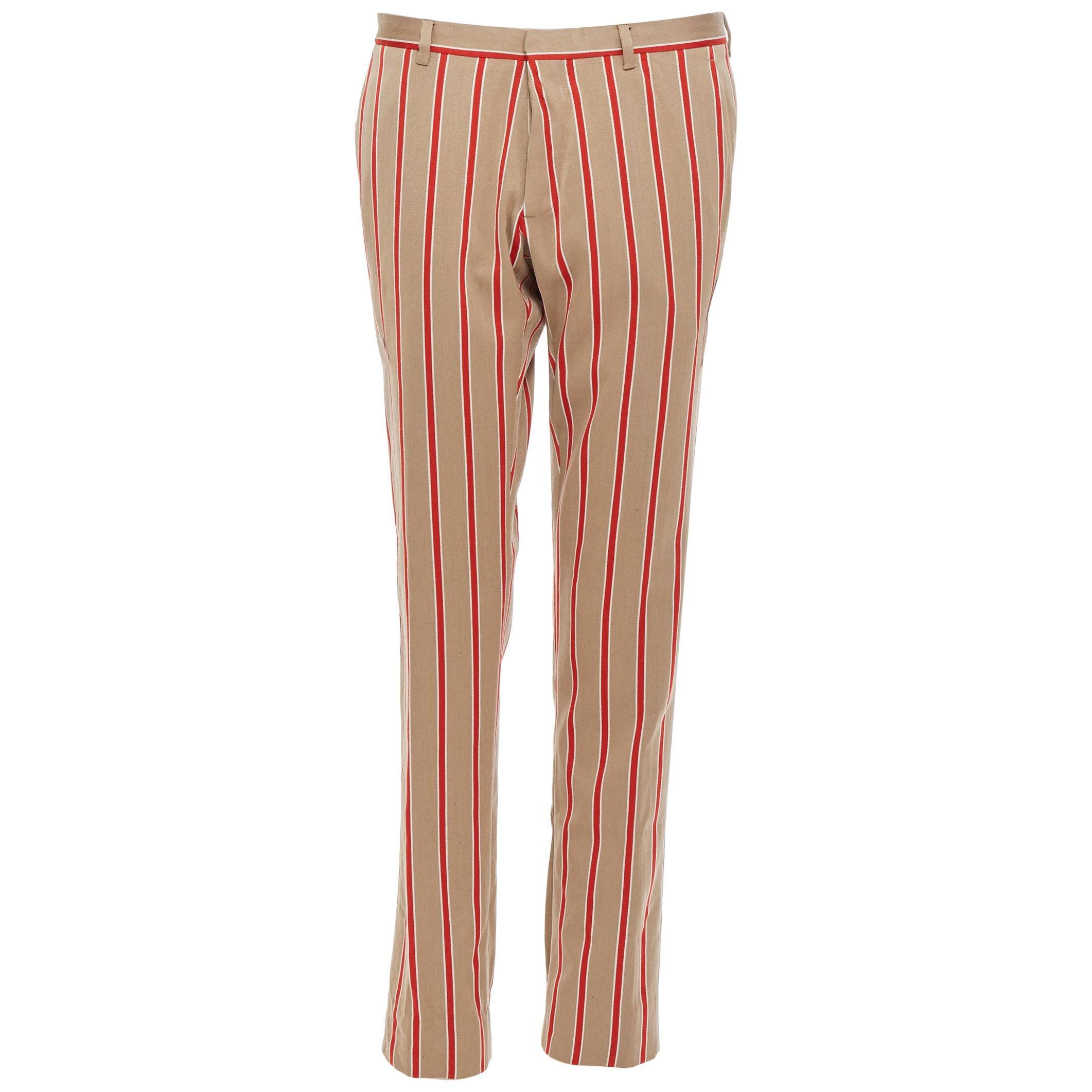 ROMEO GIGLI X JOYCE wool cotton beige brown red stripe vertical trousers IT46