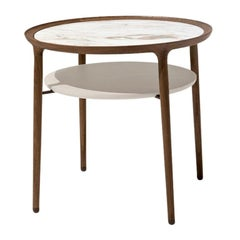 Romeo Low Table in Walnut and Crystal Glass Designed By Roberto Lazzeroni
