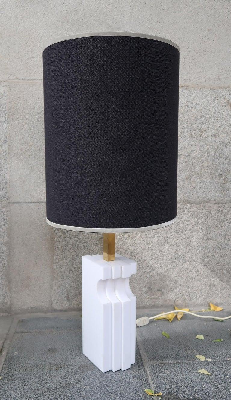 Romeo Rega, Alabaster and brass midcentury table lamp, Italy, 1970.