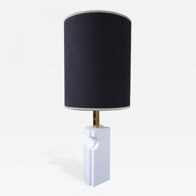 Mid-Century Modern Romeo Rega, Alabaster and Brass Midcentury Table Lamp, Italy, 1970 For Sale