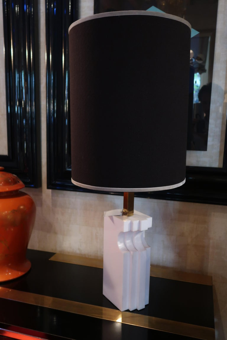 Italian Romeo Rega, Alabaster and Brass Midcentury Table Lamp, Italy, 1970 For Sale