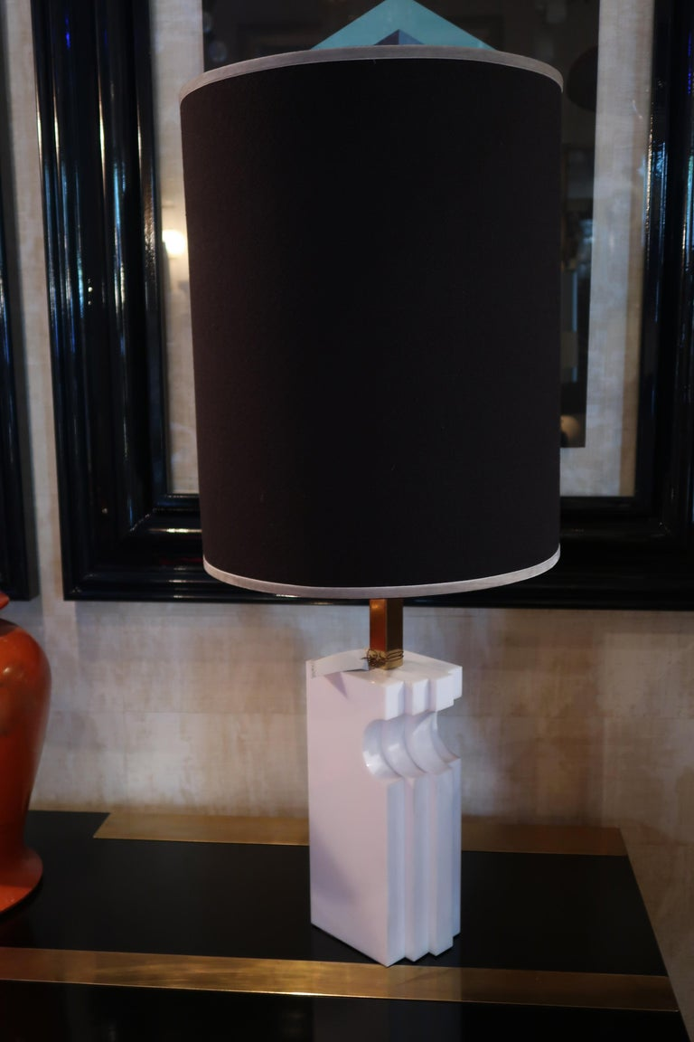 Romeo Rega, Alabaster and Brass Midcentury Table Lamp, Italy, 1970 In Good Condition For Sale In Madrid, ES