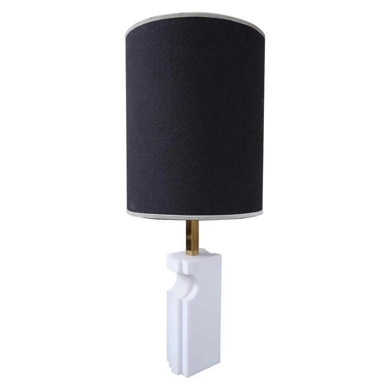Romeo Rega, Alabaster and Brass Midcentury Table Lamp, Italy, 1970 For Sale