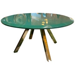 Romeo Rega Attribute Brass Round Green Top Centre Table, Italy, 1970s