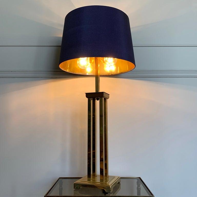 Italian Romeo Rega Attributed Brass Table Lamp, 1970s For Sale