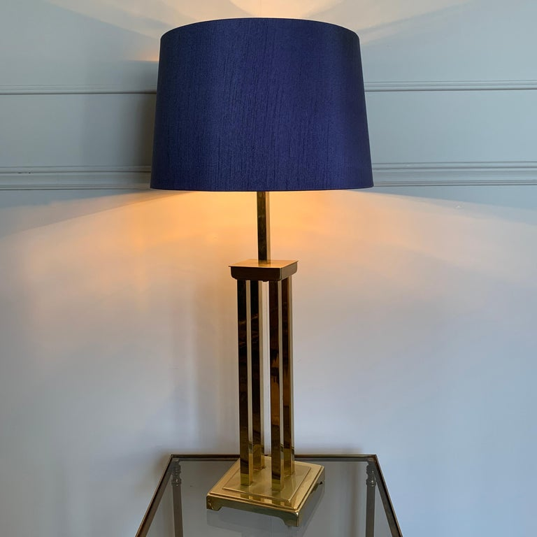 Plated Romeo Rega Attributed Brass Table Lamp, 1970s For Sale