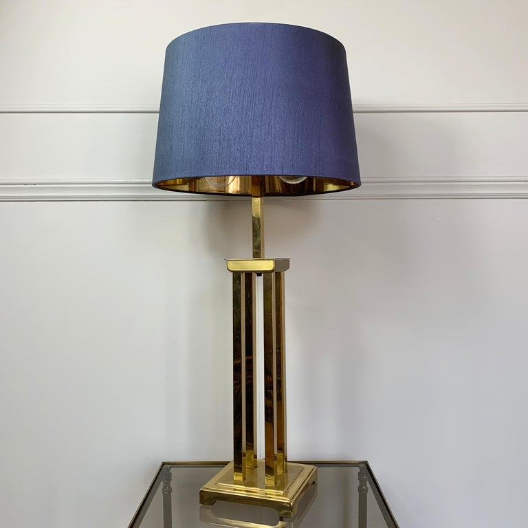 Romeo Rega Attributed Brass Table Lamp, 1970s For Sale 1