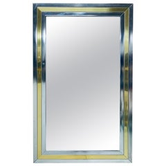 Romeo Rega Attributed Chrome and Brass Wall Mirror, 1970s