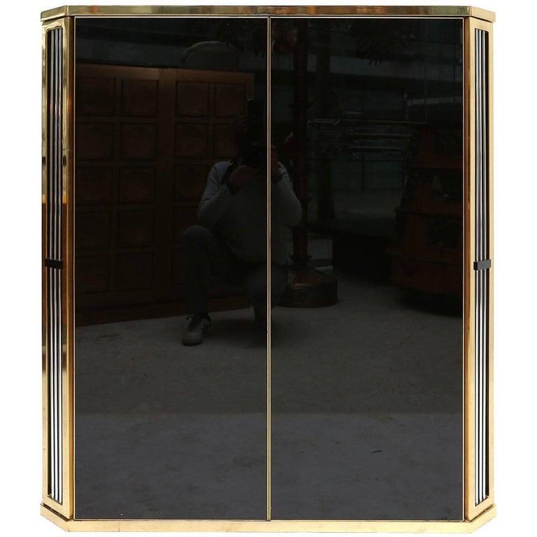 Romeo Rega Brass and Black Glass Cabinet