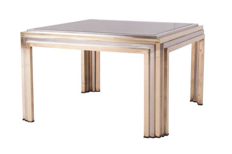 International Style Romeo Rega Brass and Chrome Coffee Table For Sale