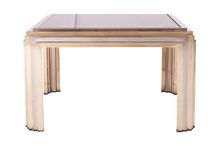 Italian Romeo Rega Brass and Chrome Coffee Table For Sale