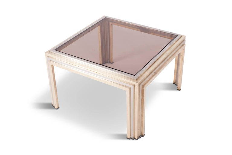 Romeo Rega Brass and Chrome Coffee Table In Excellent Condition For Sale In Antwerp, BE