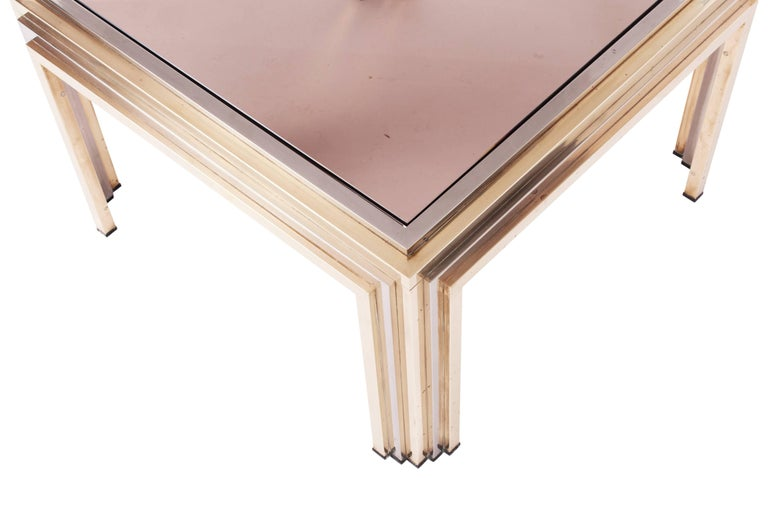 Romeo Rega Brass and Chrome Coffee Table For Sale 1