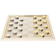 Romeo Rega Brass and Chrome-Plated Checkers Game Italian Signed