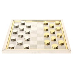 Romeo Rega Brass and Chrome-Plated Checkers Game Italian Vintage