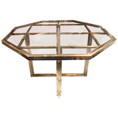 Romeo Rega, Brass and Chromed Octagonal Midcentury Dining Table, 1970